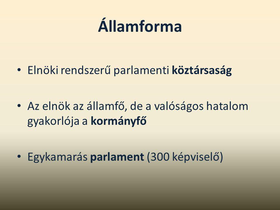Államforma Elnöki rendszerű parlamenti köztársaság Az elnök az államfő, de a valóságos hatalom gyakorlója a kormányfő Egykamarás parlament (300 képvis