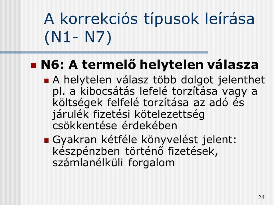 24 A korrekciós típusok leírása (N1- N7) N6: A termelő helytelen válasza A helytelen válasz több dolgot jelenthet pl. a kibocsátás lefelé torzítása va
