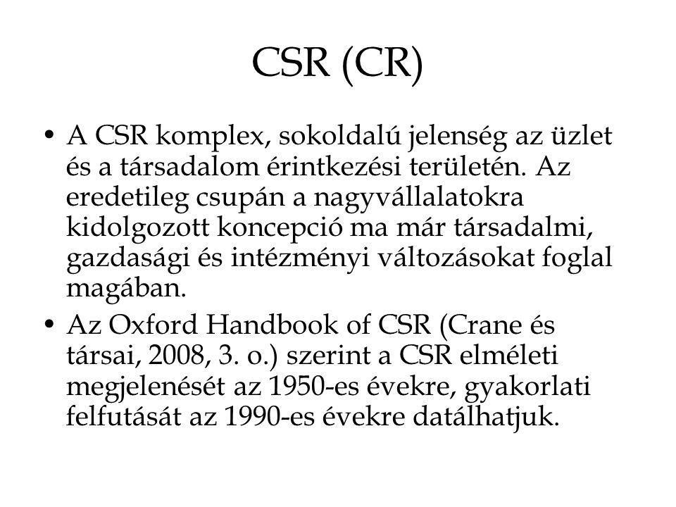 CSR (CR) A CSR komplex, sokoldalú jelenség az üzlet és a társadalom érintkezési területén.