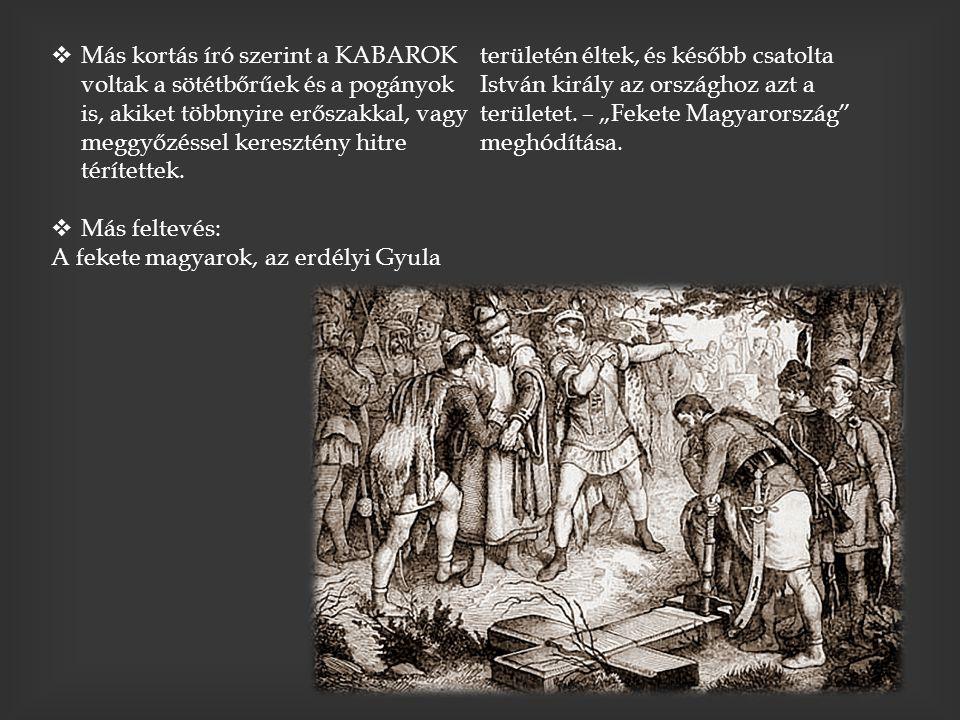  Más kortás író szerint a KABAROK voltak a sötétbőrűek és a pogányok is, akiket többnyire erőszakkal, vagy meggyőzéssel keresztény hitre térítettek.