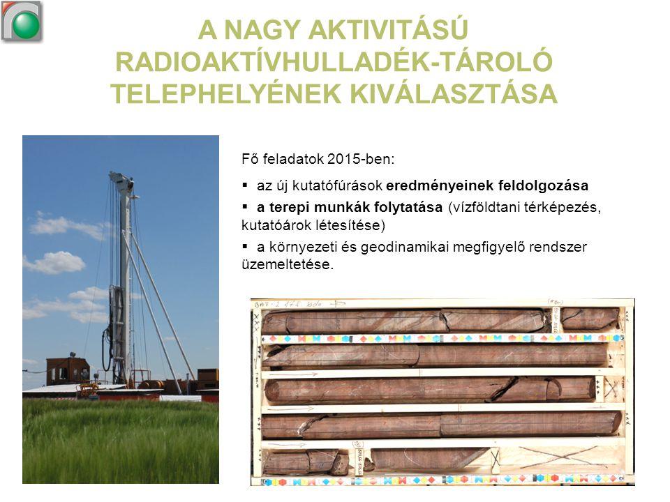 A NAGY AKTIVITÁSÚ RADIOAKTÍVHULLADÉK-TÁROLÓ TELEPHELYÉNEK KIVÁLASZTÁSA Fő feladatok 2015-ben:  az új kutatófúrások eredményeinek feldolgozása  a ter