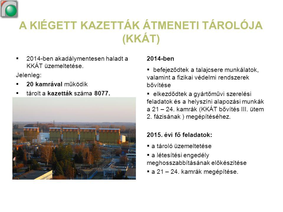 A KIÉGETT KAZETTÁK ÁTMENETI TÁROLÓJA (KKÁT)  2014-ben akadálymentesen haladt a KKÁT üzemeltetése. Jelenleg:  20 kamrával működik  tárolt a kazetták