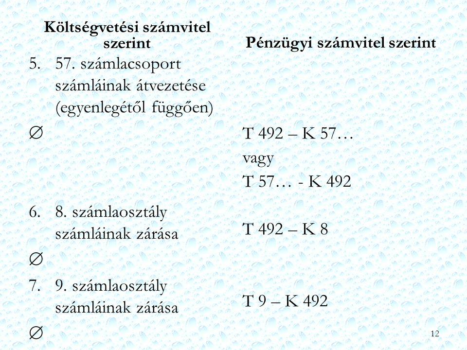 Költségvetési számvitel szerint 5. 57. számlacsoport számláinak átvezetése (egyenlegétől függően)  6. 8. számlaosztály számláinak zárása  7. 9. szám