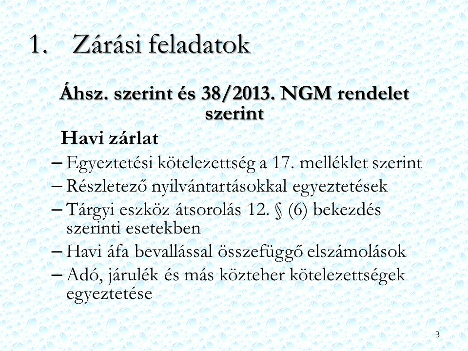 1.Zárási feladatok Áhsz. szerint és 38/2013. NGM rendelet szerint Havi zárlat – Egyeztetési kötelezettség a 17. melléklet szerint – Részletező nyilván