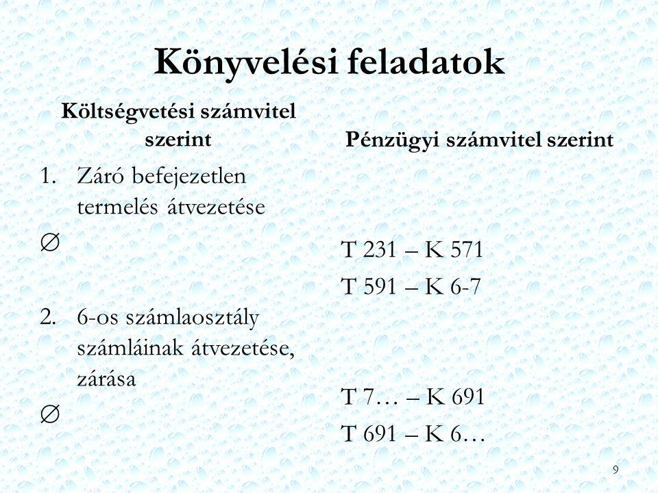 Könyvelési feladatok Költségvetési számvitel szerint 1. Záró befejezetlen termelés átvezetése  2. 6-os számlaosztály számláinak átvezetése, zárása 