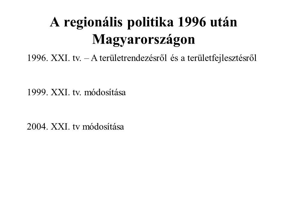 A regionális politika 1996 után Magyarországon 1996. XXI. tv. – A területrendezésről és a területfejlesztésről 1999. XXI. tv. módosítása 2004. XXI. tv