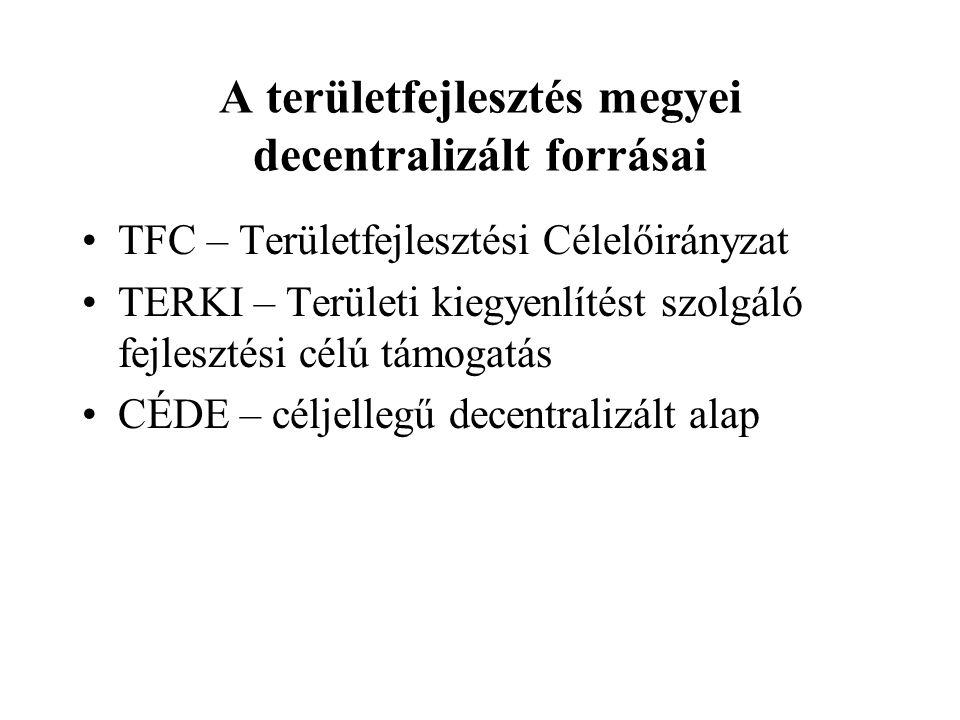 A területfejlesztés megyei decentralizált forrásai TFC – Területfejlesztési Célelőirányzat TERKI – Területi kiegyenlítést szolgáló fejlesztési célú tá