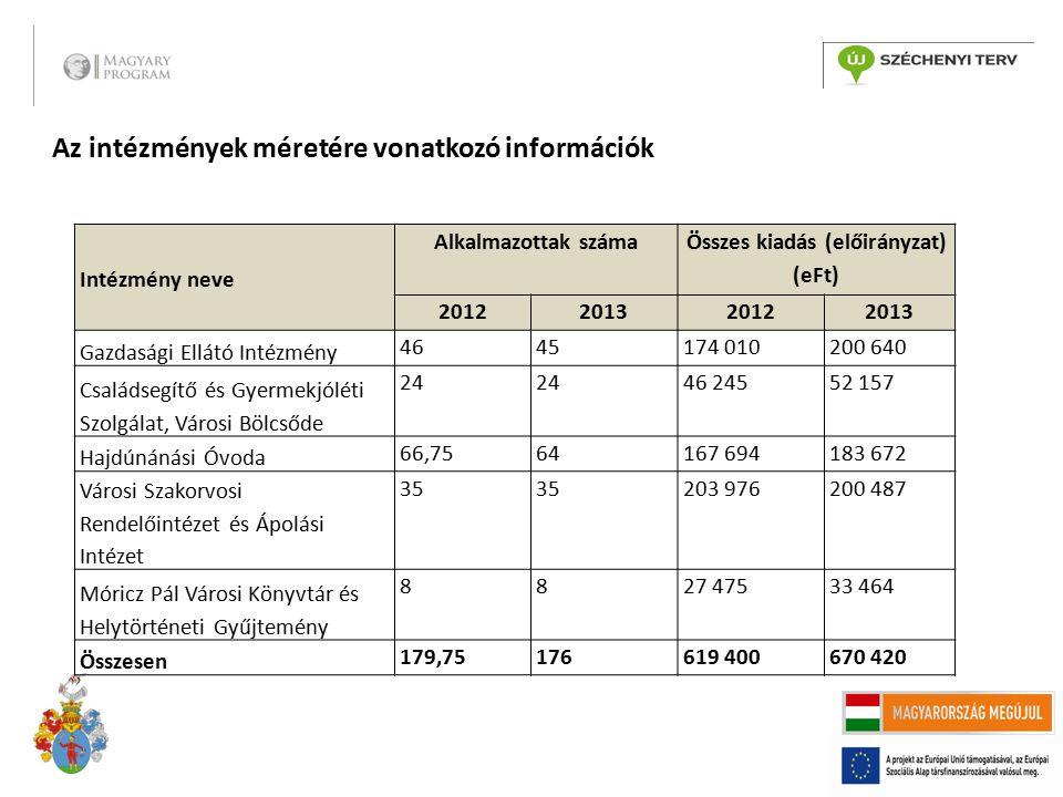 Az intézmények méretére vonatkozó információk Intézmény neve Alkalmazottak száma Összes kiadás (előirányzat) (eFt) 2012201320122013 Gazdasági Ellátó I
