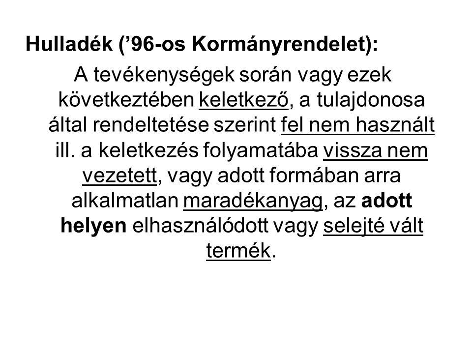 Hulladék ('96-os Kormányrendelet): A tevékenységek során vagy ezek következtében keletkező, a tulajdonosa által rendeltetése szerint fel nem használt ill.