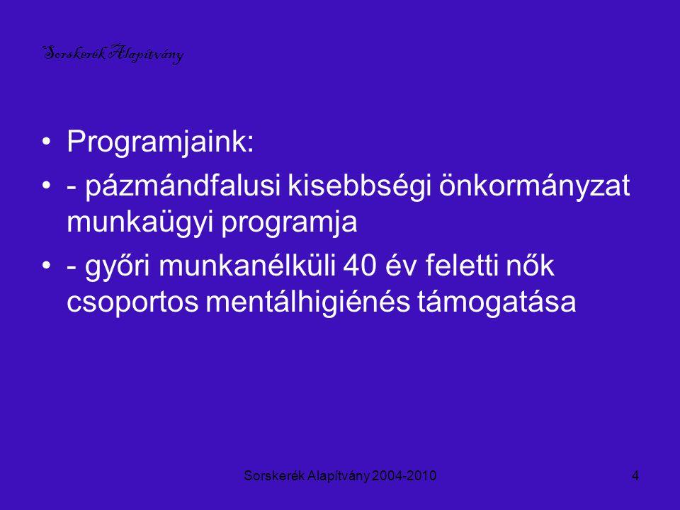 Sorskerék Alapítvány 2004-20104 Programjaink: - pázmándfalusi kisebbségi önkormányzat munkaügyi programja - győri munkanélküli 40 év feletti nők csoportos mentálhigiénés támogatása Sorskerék Alapítvány