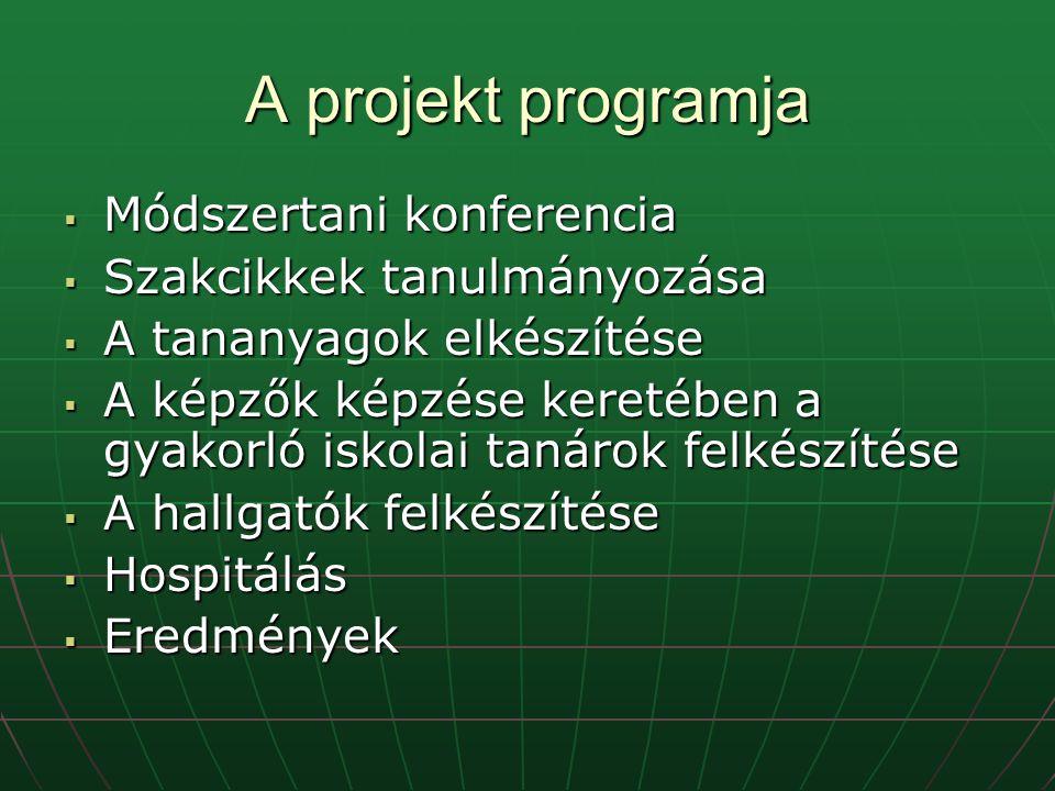 A projekt programja  Módszertani konferencia  Szakcikkek tanulmányozása  A tananyagok elkészítése  A képzők képzése keretében a gyakorló iskolai tanárok felkészítése  A hallgatók felkészítése  Hospitálás  Eredmények