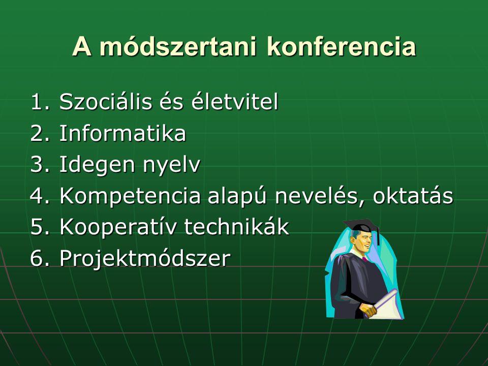 A módszertani konferencia 1. Szociális és életvitel 2.