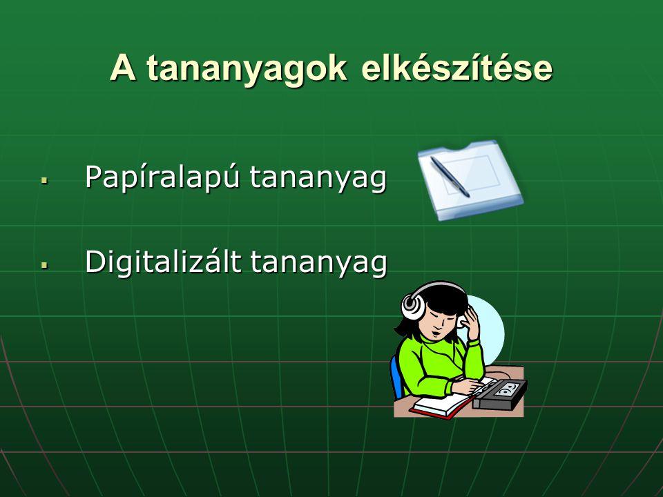A tananyagok elkészítése  Papíralapú tananyag  Digitalizált tananyag