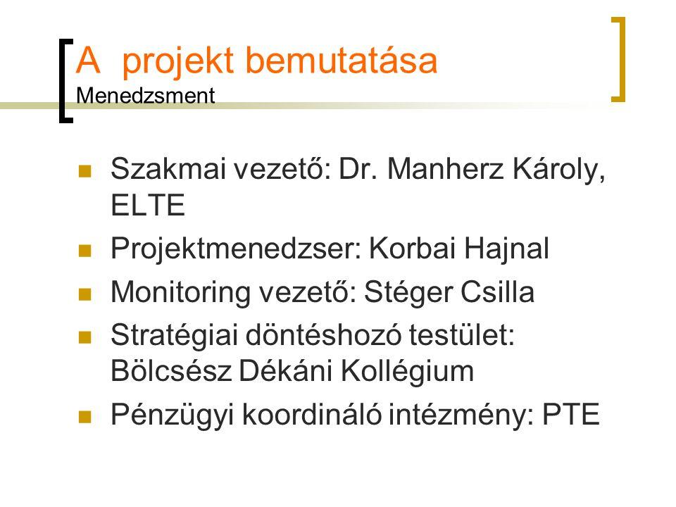 A projekt bemutatása Menedzsment Szakmai vezető: Dr.