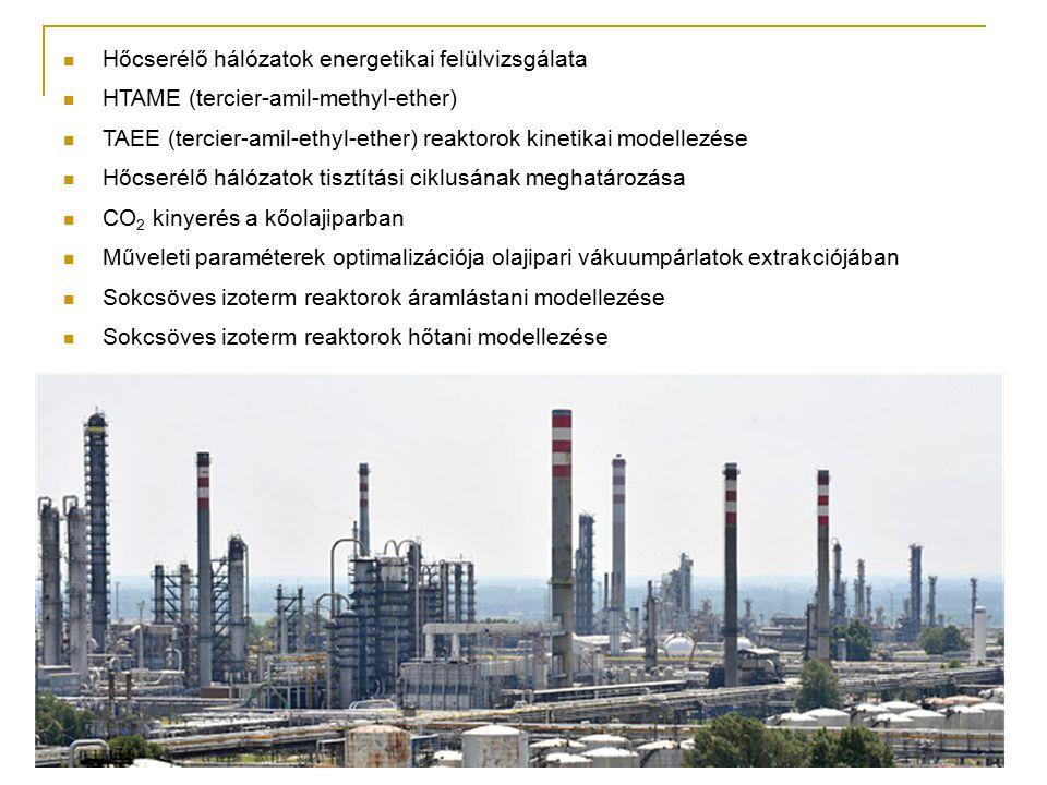 Hőcserélő hálózatok energetikai felülvizsgálata HTAME (tercier-amil-methyl-ether) TAEE (tercier-amil-ethyl-ether) reaktorok kinetikai modellezése Hőcs