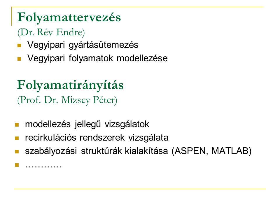 Folyamatirányítás (Prof. Dr. Mizsey Péter) modellezés jellegű vizsgálatok recirkulációs rendszerek vizsgálata szabályozási struktúrák kialakítása (ASP