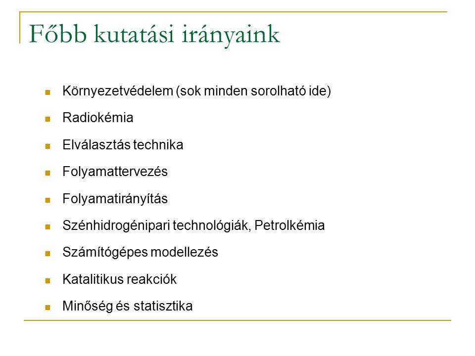 Főbb kutatási irányaink Környezetvédelem (sok minden sorolható ide) Radiokémia Elválasztás technika Folyamattervezés Folyamatirányítás Szénhidrogénipa