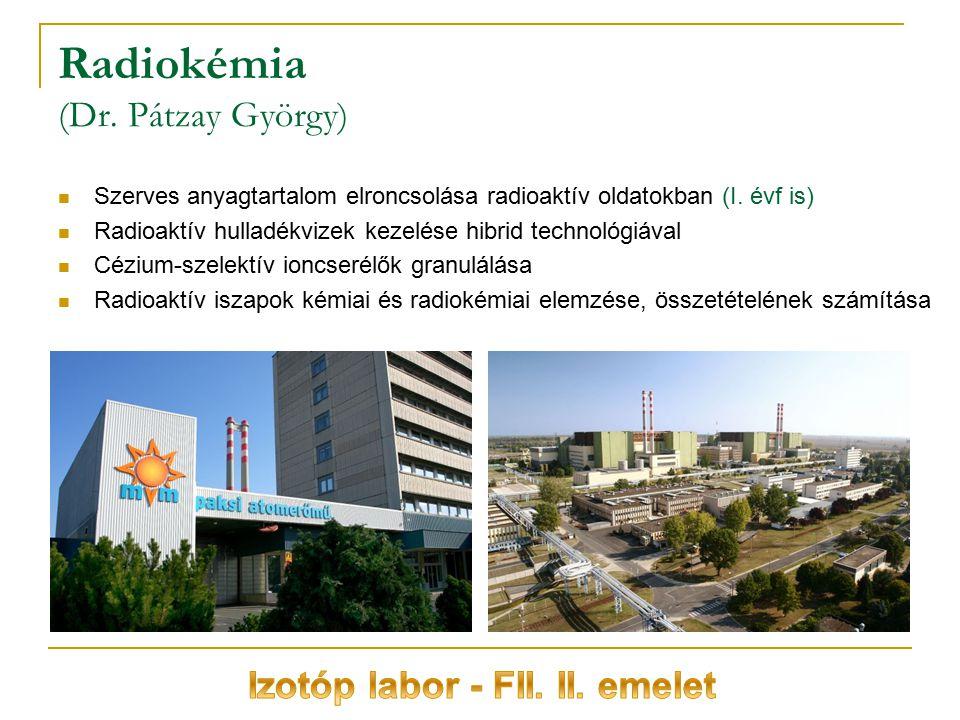 Radiokémia (Dr. Pátzay György) Szerves anyagtartalom elroncsolása radioaktív oldatokban (I. évf is) Radioaktív hulladékvizek kezelése hibrid technológ