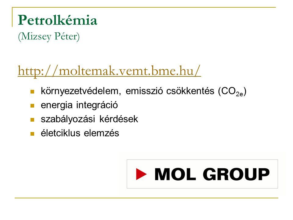 Petrolkémia (Mizsey Péter) http://moltemak.vemt.bme.hu/ http://moltemak.vemt.bme.hu/ környezetvédelem, emisszió csökkentés (CO 2e ) energia integráció