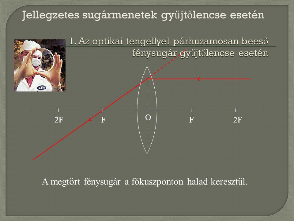 2FF F O A megtört fénysugár a fókuszponton halad keresztül. Jellegzetes sugármenetek gy ű jt ő lencse esetén