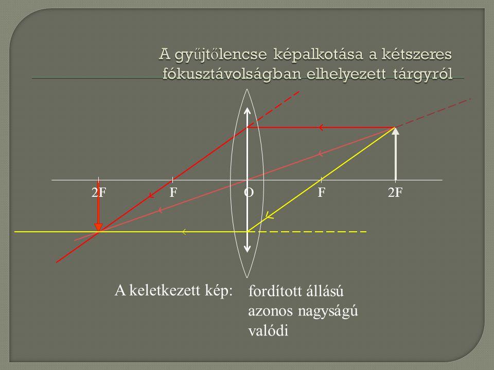2FFF O A keletkezett kép: fordított állású azonos nagyságú valódi