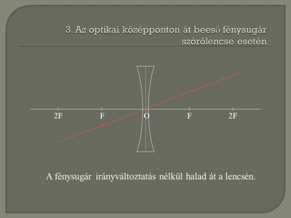 2FFF O A fénysugár irányváltoztatás nélkül halad át a lencsén.