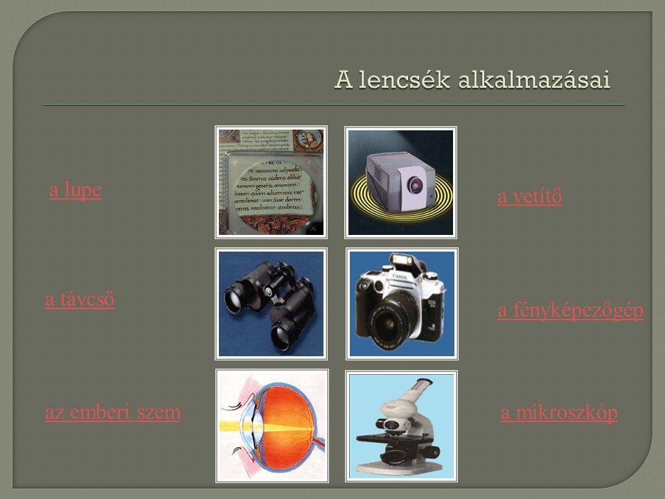 a vetítő az emberi szem a fényképezőgép a távcső a mikroszkóp a lupe
