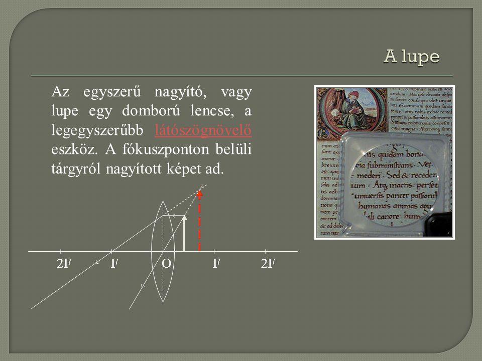 2FFF O Az egyszerű nagyító, vagy lupe egy domború lencse, a legegyszerűbb látószögnövelő eszköz. A fókuszponton belüli tárgyról nagyított képet ad.lát