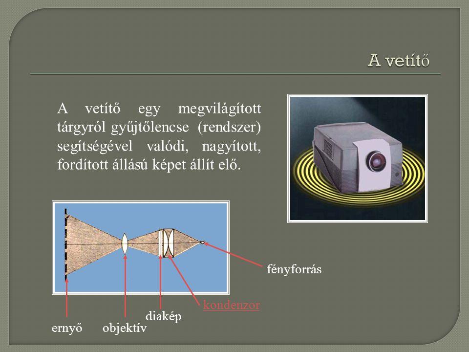 fényforrás kondenzor diakép objektívernyő A vetítő egy megvilágított tárgyról gyűjtőlencse (rendszer) segítségével valódi, nagyított, fordított állású