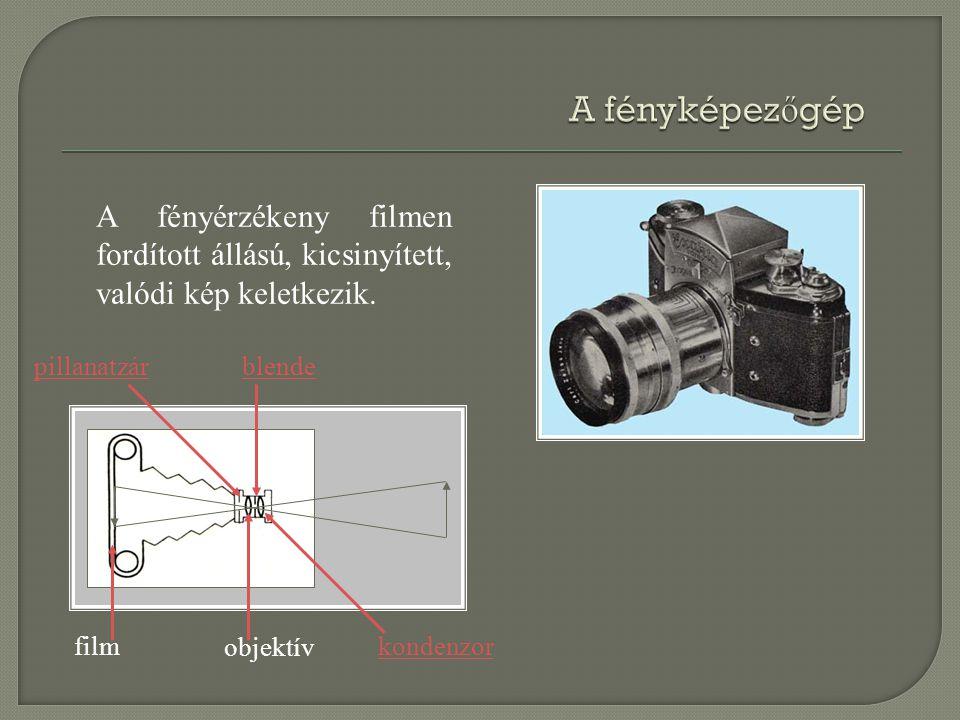 pillanatzárblende film objektív kondenzor A fényérzékeny filmen fordított állású, kicsinyített, valódi kép keletkezik.