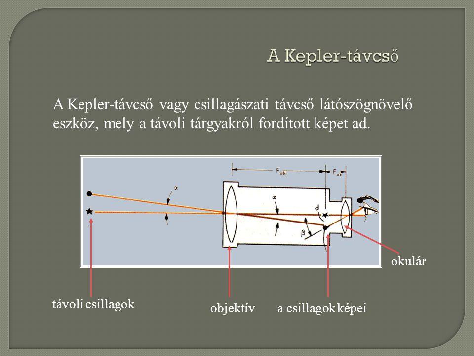A Kepler-távcs ő A Kepler-távcső vagy csillagászati távcső látószögnövelő eszköz, mely a távoli tárgyakról fordított képet ad. távoli csillagok objekt