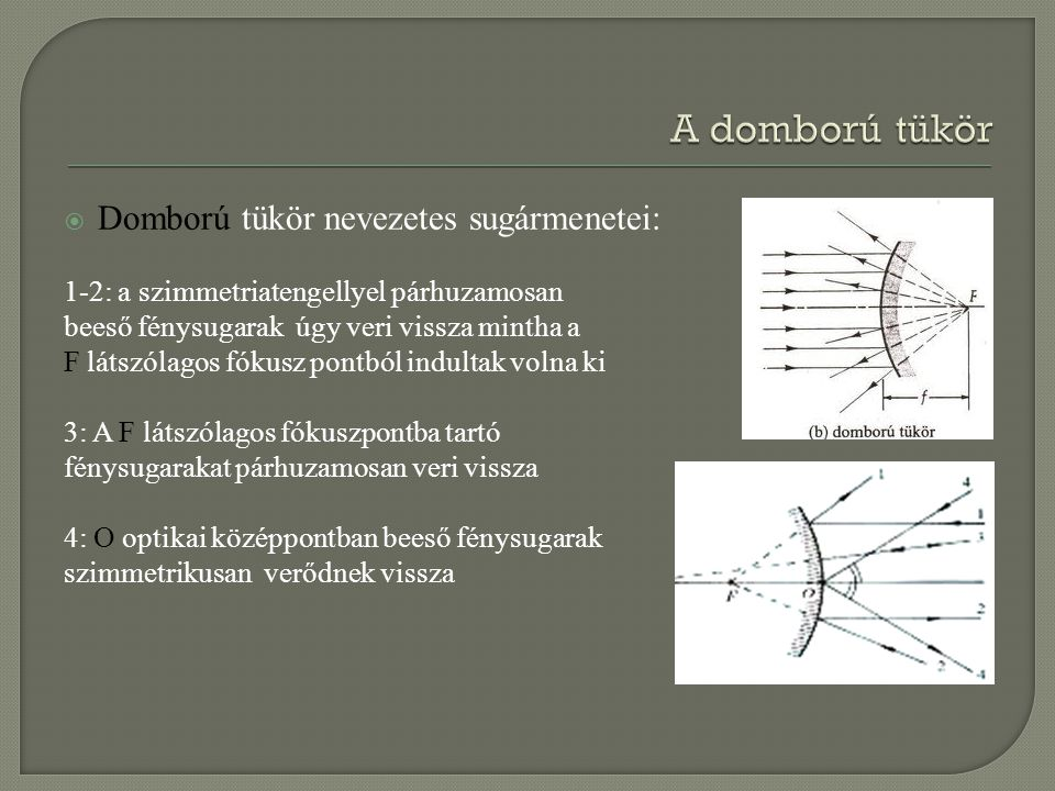  Domború tükör nevezetes sugármenetei: 1-2: a szimmetriatengellyel párhuzamosan beeső fénysugarak úgy veri vissza mintha a F látszólagos fókusz pontb