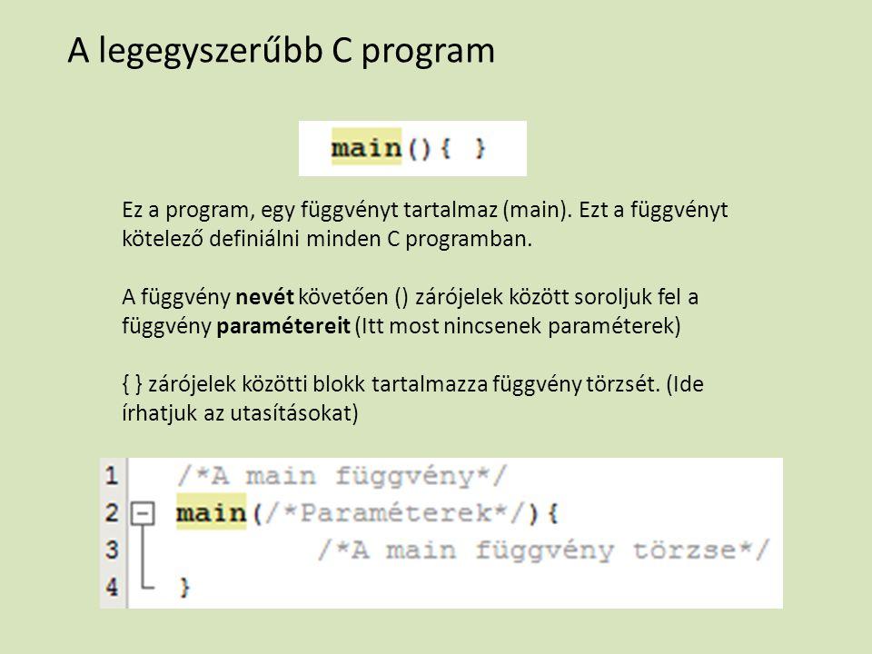 A legegyszerűbb C program Ez a program, egy függvényt tartalmaz (main).