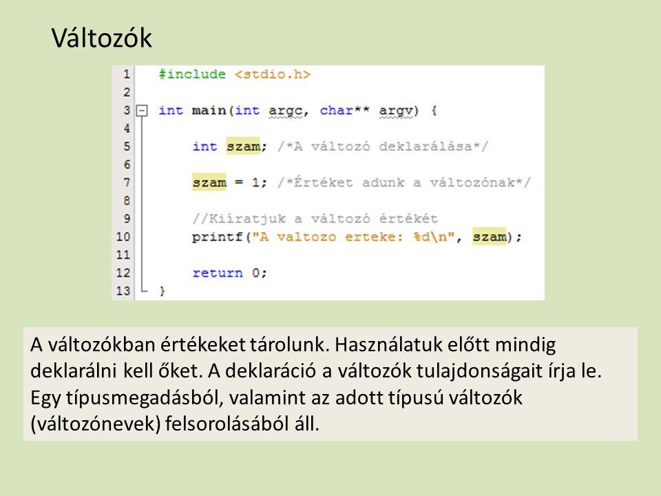 Azonosítók, változónevek A C nyelvű program bizonyos összetevőire (pl.