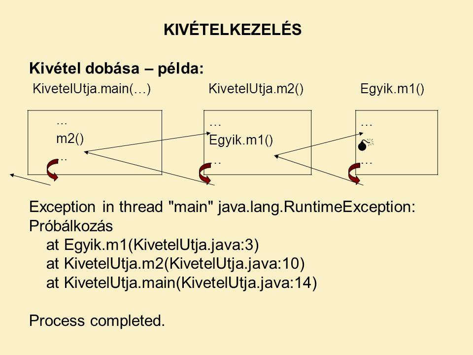 Kivétel dobása – példa: KIVÉTELKEZELÉS Exception in thread main java.lang.RuntimeException: Próbálkozás at Egyik.m1(KivetelUtja.java:3) at KivetelUtja.m2(KivetelUtja.java:10) at KivetelUtja.main(KivetelUtja.java:14) Process completed.