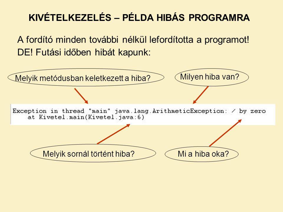 A fordító minden további nélkül lefordította a programot! DE! Futási időben hibát kapunk: Melyik metódusban keletkezett a hiba? KIVÉTELKEZELÉS – PÉLDA