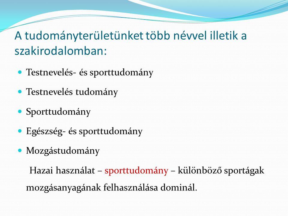 A tudományterületünket több névvel illetik a szakirodalomban: Testnevelés- és sporttudomány Testnevelés tudomány Sporttudomány Egészség- és sporttudomány Mozgástudomány Hazai használat – sporttudomány – különböző sportágak mozgásanyagának felhasználása dominál.