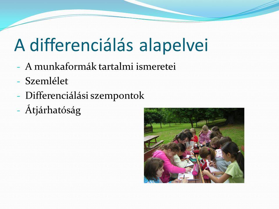 A differenciálás alapelvei - A munkaformák tartalmi ismeretei - Szemlélet - Differenciálási szempontok - Átjárhatóság