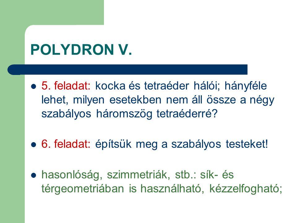 POLYDRON V. 5. feladat: kocka és tetraéder hálói; hányféle lehet, milyen esetekben nem áll össze a négy szabályos háromszög tetraéderré? 6. feladat: é