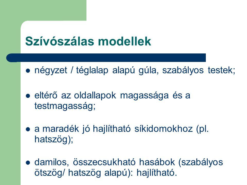 Szívószálas modellek négyzet / téglalap alapú gúla, szabályos testek; eltérő az oldallapok magassága és a testmagasság; a maradék jó hajlítható síkidomokhoz (pl.