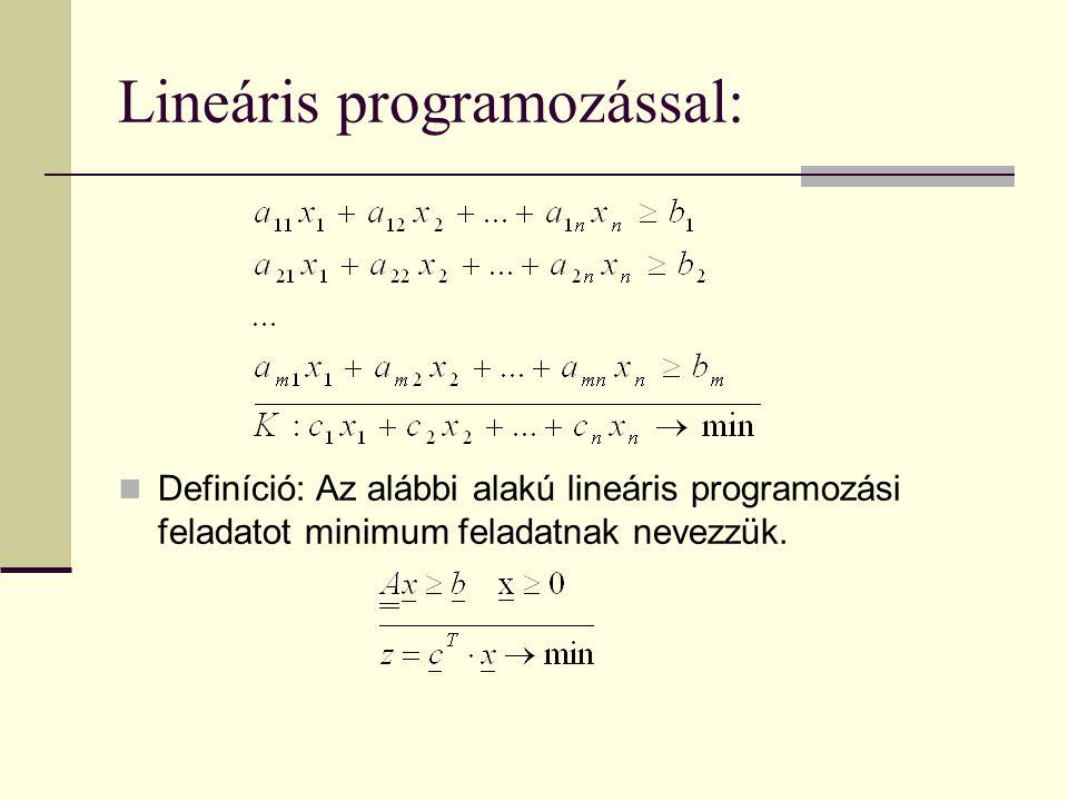 Lineáris programozással: Definíció: Az alábbi alakú lineáris programozási feladatot minimum feladatnak nevezzük.