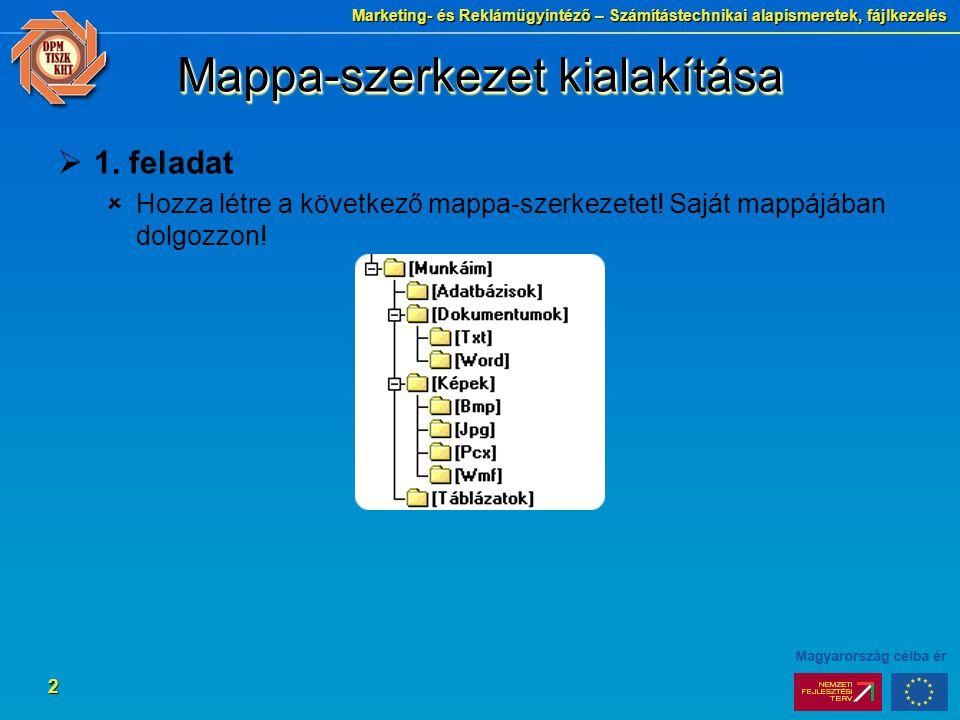 Marketing- és Reklámügyintéző – Számítástechnikai alapismeretek, fájlkezelés 2 Mappa-szerkezet kialakítása  1. feladat  Hozza létre a következő mapp