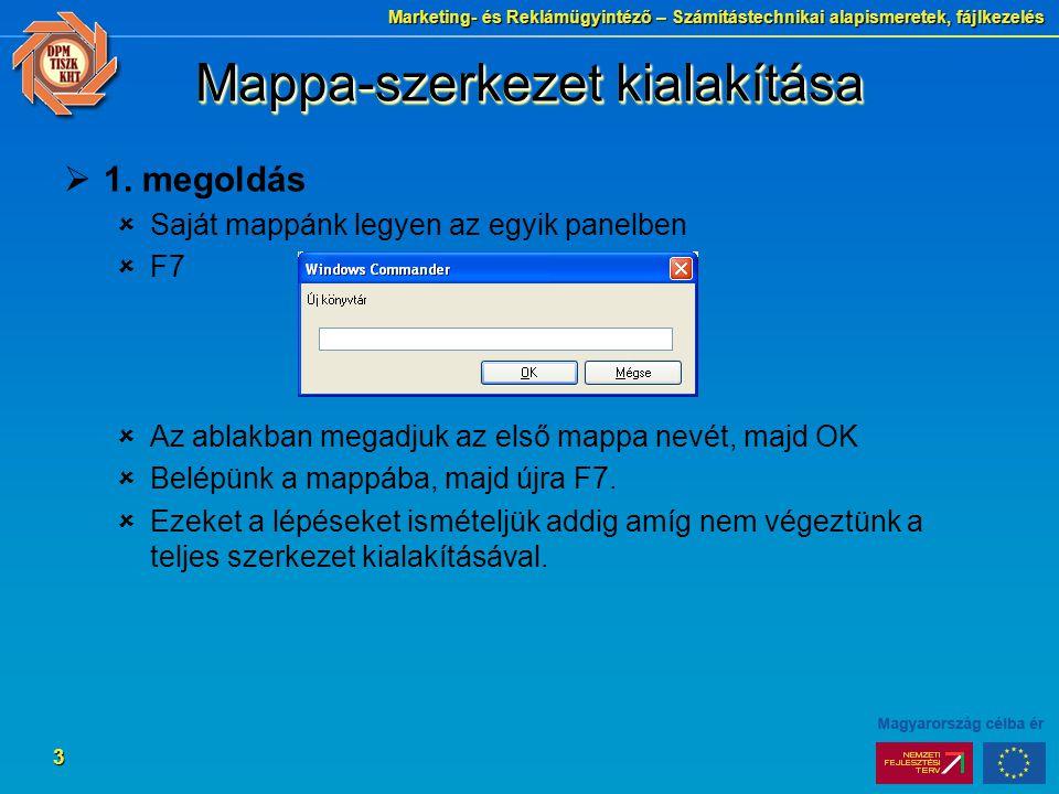 Marketing- és Reklámügyintéző – Számítástechnikai alapismeretek, fájlkezelés 3  1. megoldás  Saját mappánk legyen az egyik panelben  F7  Az ablakb
