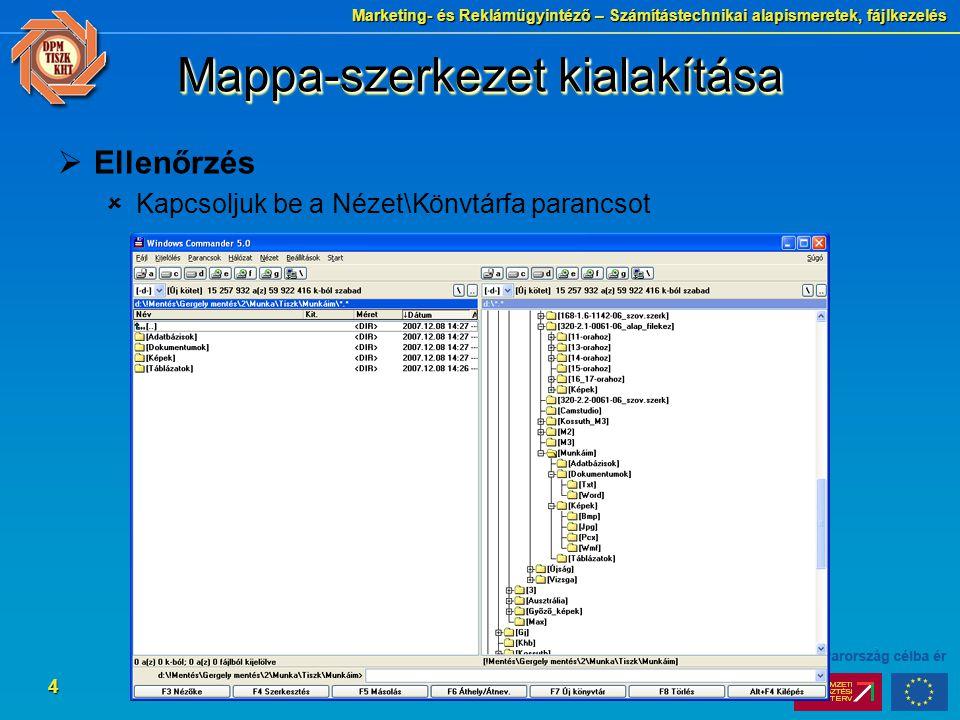 Marketing- és Reklámügyintéző – Számítástechnikai alapismeretek, fájlkezelés 4 Mappa-szerkezet kialakítása  Ellenőrzés  Kapcsoljuk be a Nézet\Könvtá