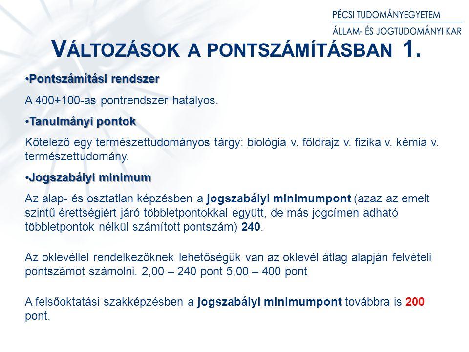 V ÁLTOZÁSOK A PONTSZÁMÍTÁSBAN 2.