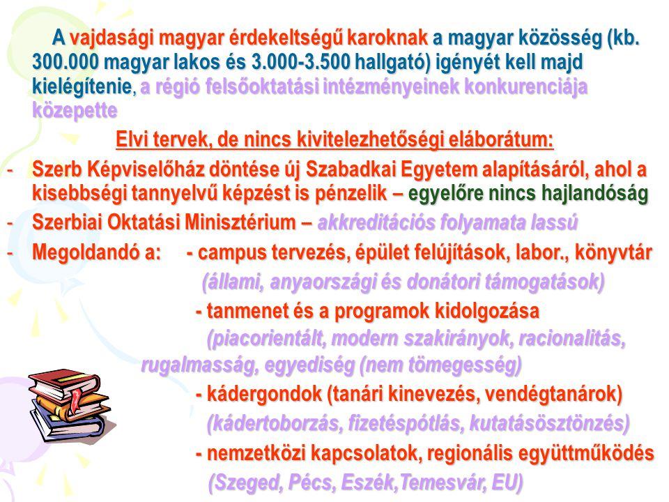 Összesített helyzetelemzés: - jelenlegi törvény: egyetemalapításhoz 3 tudományágban (önálló) karra van szükség, 5 szakkal, 3 képzés-színten - Tanítóképző Kar nem önálló jogi személy - a Műszaki Főiskola nem tanít 3 színten - a Közgazdasági- és Építőmérnöki Kar csak részben magyar - a külhoni kihelyezett tagozatok bekapcsolandók a szerbiai felsőoktatásba - magyar tanári káder szétszórt, nem fizetett - nem kielégító infrastruktúra - a fennmaradáshoz magyar hallgatók kellenek!