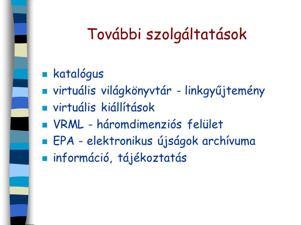 További szolgáltatások n katalógus n virtuális világkönyvtár - linkgyűjtemény n virtuális kiállítások n VRML - háromdimenziós felület n EPA - elektronikus újságok archívuma n információ, tájékoztatás