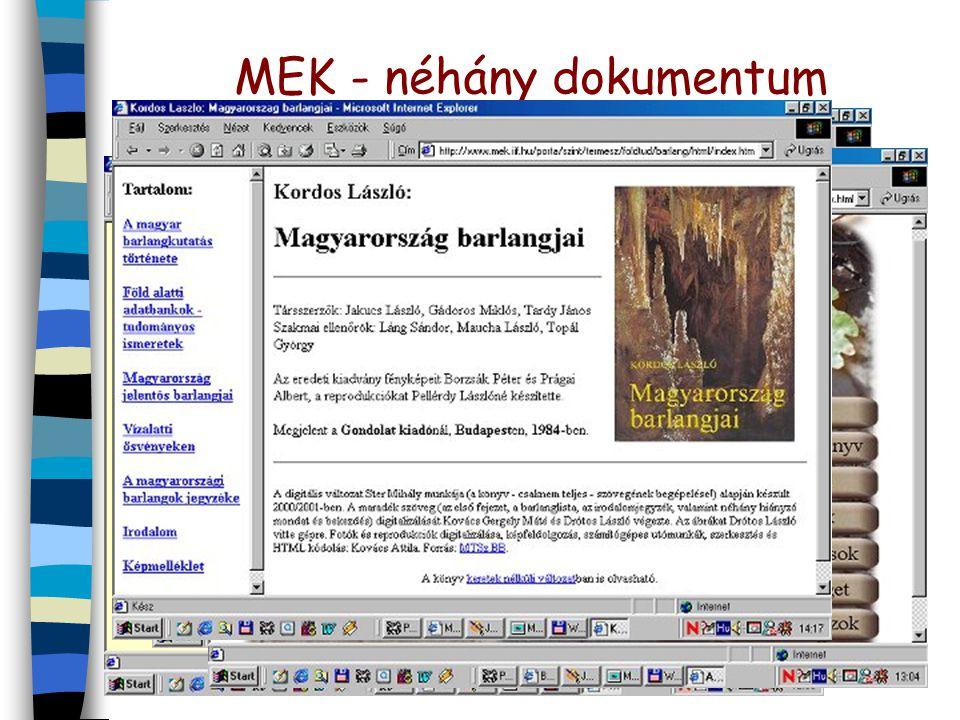 MEK - néhány dokumentum