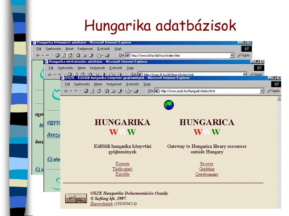 Hungarika adatbázisok n Hungarika Információ –határontúli magyarság tudományos, kulturális tevékenysége n Hungarika Névkataszter –magyar biográfiai in