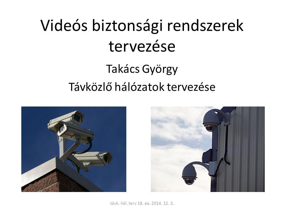 Fogalmak CCTV (Closed-circuit television) – zártláncú TV video surveillance – video felügyelet --kiegészítésekkel (mozgás érzékelés alapján indított felvétel, távolról vezérelt forgatás és kinagyítás, távoli képmegjelenítés, video tartalom gépi analízise -VCA) Alkalmazás: bűnmegelőzés, forgalomfigyelés, rendszámfigyelés, utas-biztonság, ipari létesítmények ellenőrzése, lakásfelügyelet.